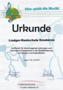 Liudger-Realschule Emsbüren Urkunde